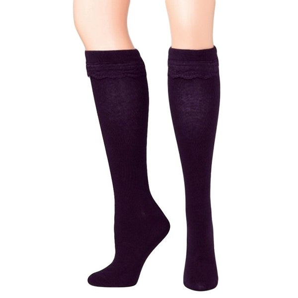 Blazin Roxx Socks Womens Fashion Knee High Ribbon Purple