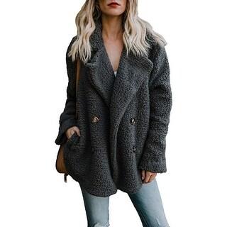 Link to Women'S Fuzzy Fleece Open Front Cardigan Jacket Coat Pockets Similar Items in Women's Outerwear