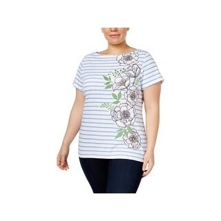 Karen Scott Womens Plus T-Shirt Striped Embellished