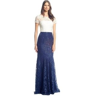 David Meister Sequin Embellished Lace Short Sleeve Evening Gown Dress