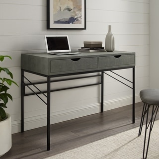 Link to Carson Carrington 44-inch Faux Shagreen 2-Drawer Desk Similar Items in Desks & Computer Tables