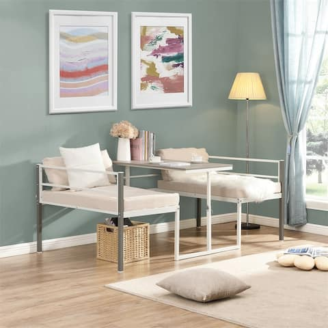 Merax Twin Adjustable Metal Daybed with Built-in-Desk, can be Raised and Lowered