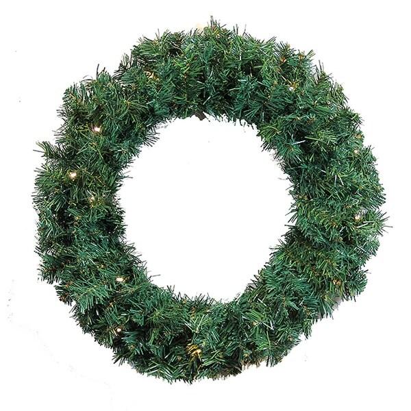 "36"" Pre-Lit Green Cedar Pine Artificial Christmas Wreath - Warm White LED Lights"