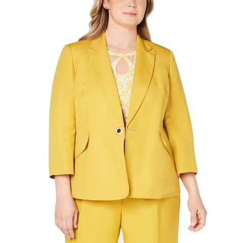 Kasper Women's Jacket Yellow Size 20W Plus Notched Collar Closure