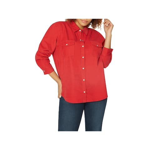 Sanctuary Womens Plus Button-Down Top Corduroy Work