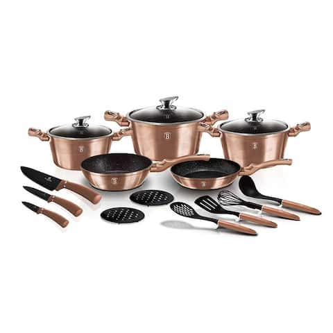 Berlinger Haus 17-Piece Kitchen Cookware Set, Rose Gold Collection
