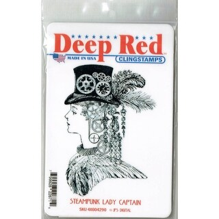 Deep Red Stamps Steampunk Lady Rubber Cling Stamp - 3 x 4