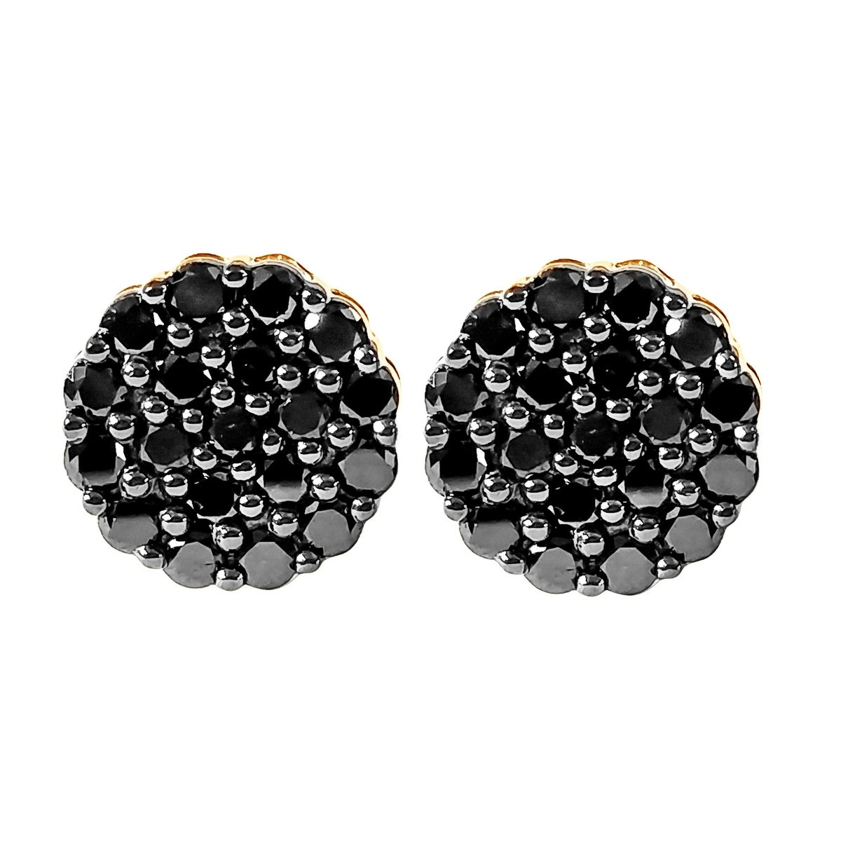 Prism Jewel 1.00Ct Round Black Diamond Cluster Earring With Screw Back - Thumbnail 0