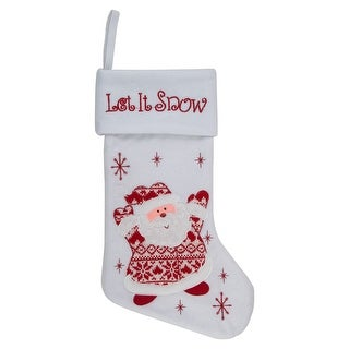 """Link to 19"""" Red and White """"Let It Snow"""" Santa Claus Embroidered Christmas Stocking Similar Items in Christmas Decorations"""