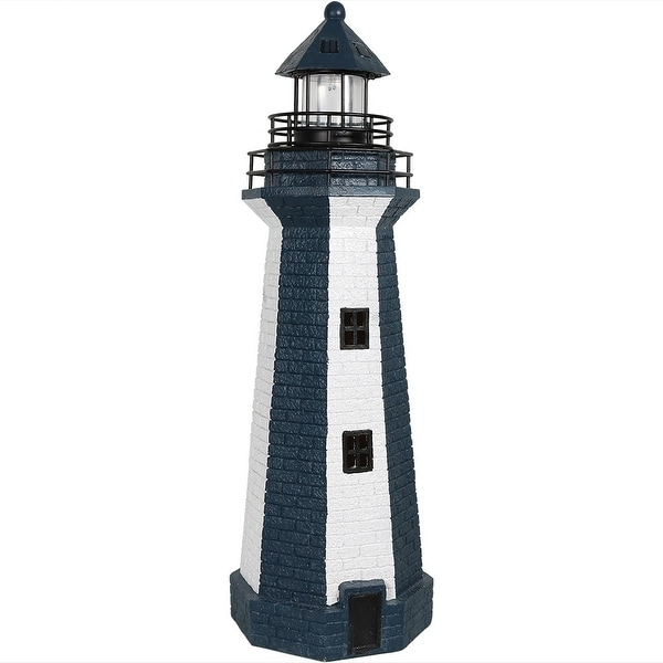 Sunnydaze Solar Striped LED Lighthouse Outdoor Decor, 36 Inch Tall, Colors  Available