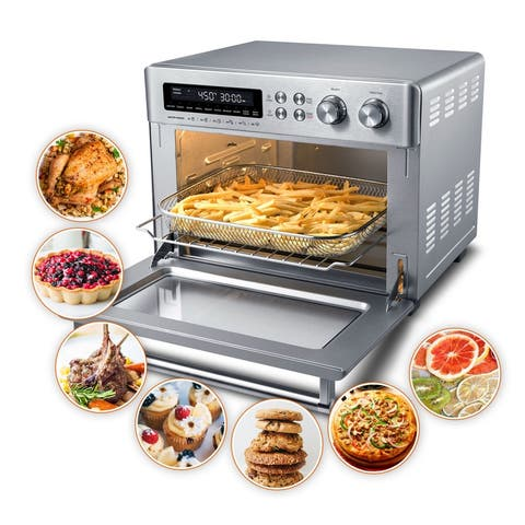 """10-in-1 Toaster Oven Air Fryer Convection Pizza Oven Airfryer Combo - 16.53""""x12.59""""x12.99"""