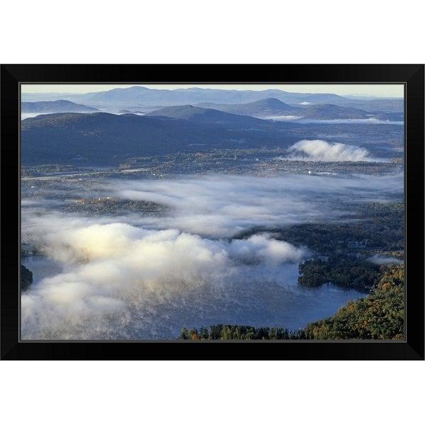 """Lenox, Aerial view of Berkshire w/ autumn fog"" Black Framed Print"