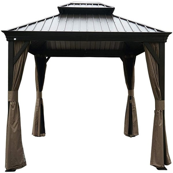 Shop Alexander Hardtop Aluminum Permanent Gazebo with a ... on Safavieh Outdoor Living Horus Dining Set id=65341