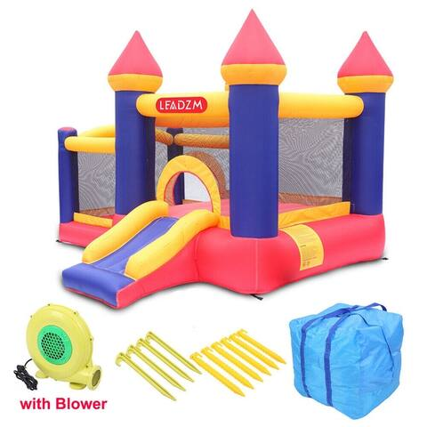 Leadzm Inflatable Bounce House Slide Moonwalk Bouncy Kids Castle + Blower + Carry Bag