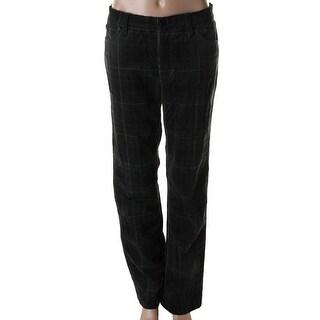 LRL Lauren Jeans Co. Womens Classic Plaid Corduroy Pants - 4