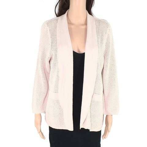 Alfani Womens Sweater Beige Size Large L Cardigan Open Stitch Front