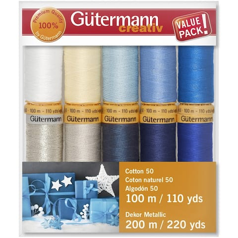 Gutermann Cotton 50 Holiday Thread Set - 10 Spools-Collection 2 - Silver Metallic - Medium