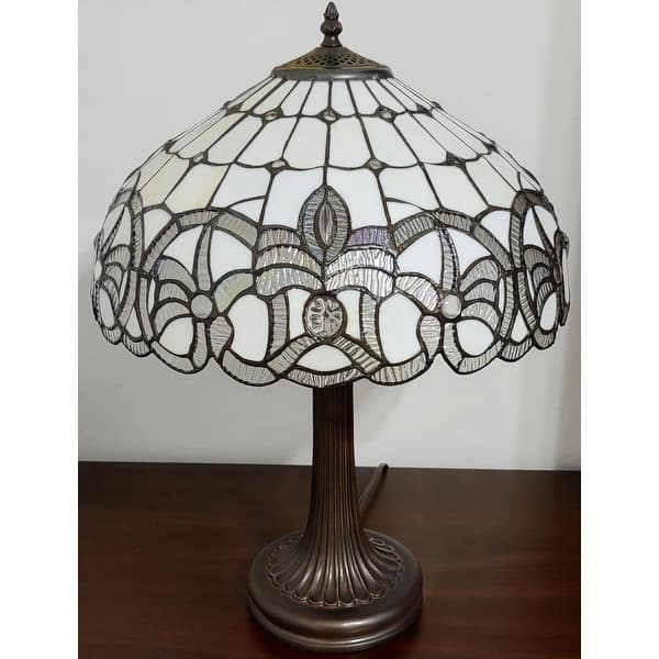 Tiffany Style Table Lamp 24 Tall Stained Glass White Grey Jeweled Beads Decor Bedroom Handmade Gift Am293tl16b Amora Lighting Overstock 29030488