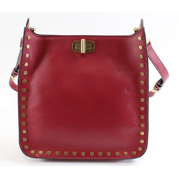 2d89fc251de Shop Michael Kors NEW Cherry Red Leather Medium Sullivan Messenger ...