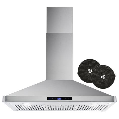 36 in. Ductless Wall Mount Range Hood in Stainless Steel with Carbon Filter Kit for Recirculating - 36 in.