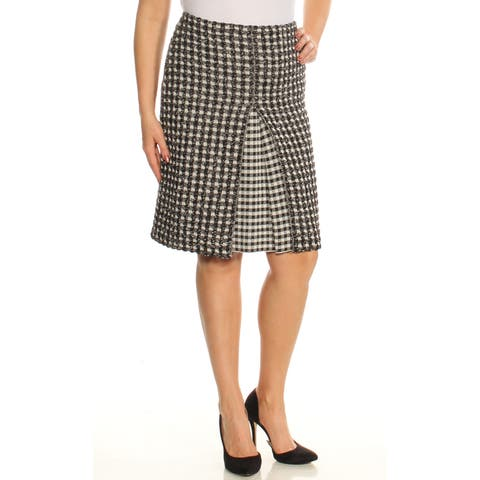 SONIA RYKIEL Womens Black Check Knee Length A-Line Wear To Work Skirt Size: L