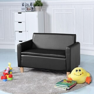Gymax Kids Double-seat Sofa Armrest Chair Lounge Couch Wood Construction Storage Box