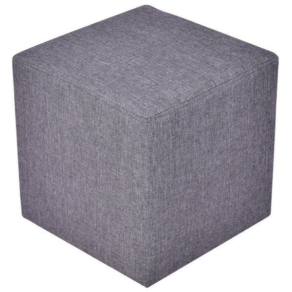 Shop Gymax Linen Ottoman Square Foot Stool Wood Frame