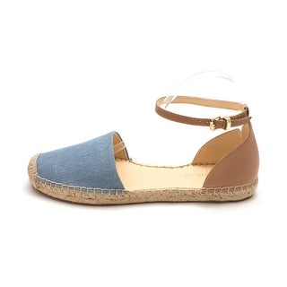 Ivanka Trump Womens Vailea Leather Closed Toe Ankle Strap Espadrille Flats (More options available)