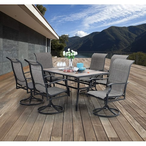 MFSTUDIO 7 Pieces Patio Dining Set, Rectangular Wood-Like Table with 6 Padded Textilene Fabric Swivel Chairs