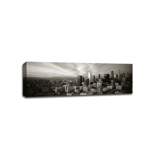 Los Angeles - Cityscapes - 48x16 Gallery Wrapped Canvas Wall Art B&W