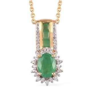 Natural Emerald Pendant May Birthstone Emerald Zircon Pendant Bohemian Vintage Pendant Emerald Small Pendant-925 Sterling Silver Pendant