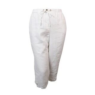 JM Collection Women's Wide Leg Linen Capris