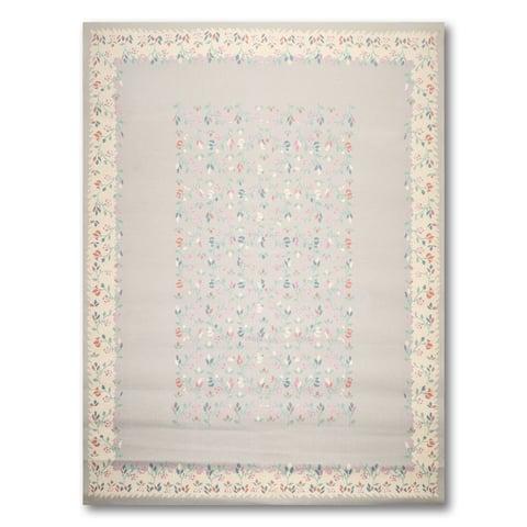 "Gray,Ivory, Pink, Blue, Multi Oriental Rug Wool Traditional Oriental Area Rug (8x10) - 8' x 11'2"""