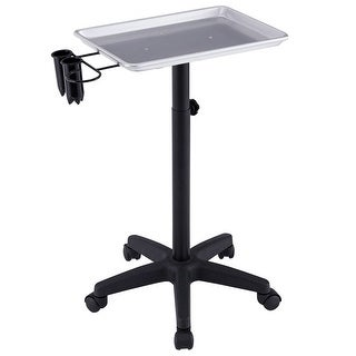 Gymax Equipment Salon Spa Service Tray Beauty Trolley Cart with Appliance Holder - Silver