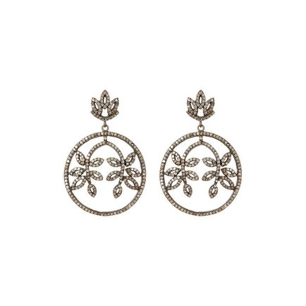 Genuine Diamond Leaf Earring Sterling Silver Oxidised Finish
