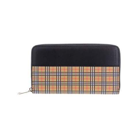 Burberry Womens Zip Around Wallet Leather Signature - Antique Yellow/Black - O/S
