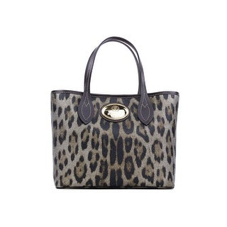 Roberto Cavalli Firenze Brown Leather Leopard Print Shopping Tote Bag