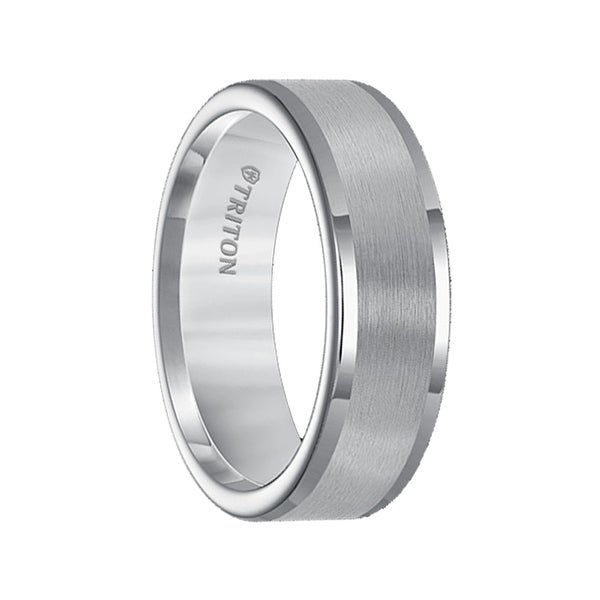 PAUL Flat Satin Finished Center Gray Tungsten Carbide Band with Polish Finished Step Edges by Triton Rings - 7mm