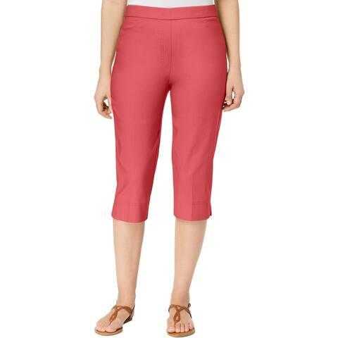 Alfred Dunner Womens Petites Capri Pants Modern Fit Pull On