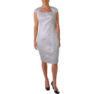 Jax Womens Casual Dress Square-Neck Cap-Sleeves