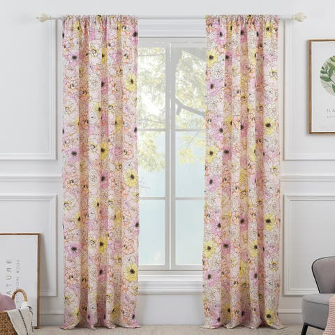 Greenland Home Fashions Misty Bloom 4-Piece Curtain Panel Set