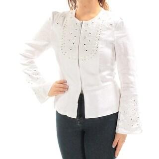INC $139 Womens New 1452 White White Embellished Embroidered Zip Up Jacket M B+B