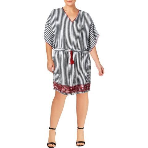Lauren Ralph Lauren Womens Plus Casual Dress Striped Caftan - Black Multi - 20W