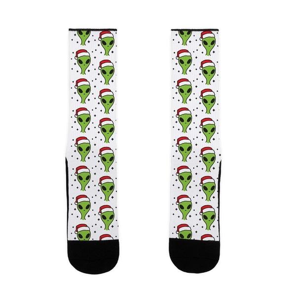 Christmas Alien Pattern US Size 7-13 Socks by LookHUMAN