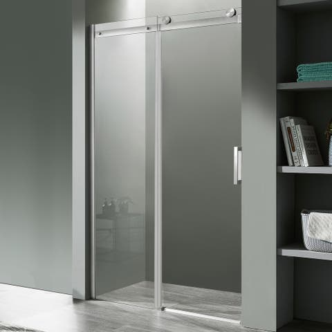 Rhodes 60 in. x 76 in. Frameless Sliding Shower Door in Brushed Nickel