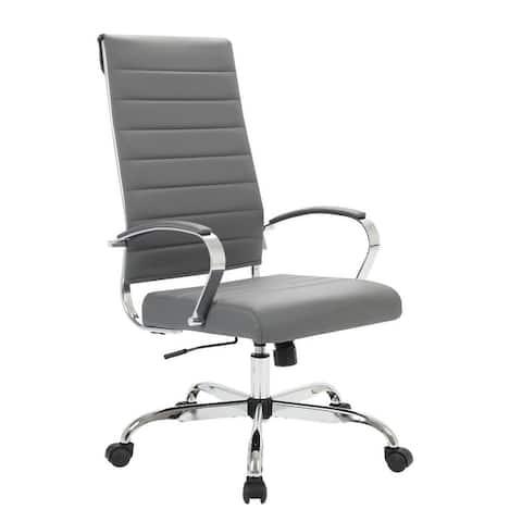 LeisureMod Benmar High-Back Adjustable Leather Office Chair