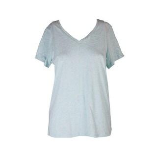 Hue Plus Size Aqua Heather Short-Sleeve V-Neck Pajama T-Shirt 1X