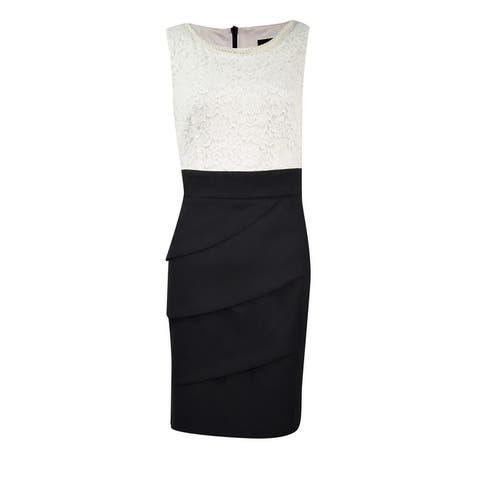 Connected Women's Lace Tiered Colorblock Sheath Dress - Ivory/Black