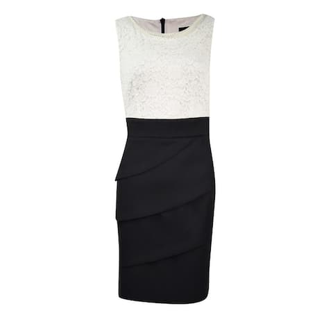Connected Women's Petite Lace Tiered Colorblock Sheath Dress