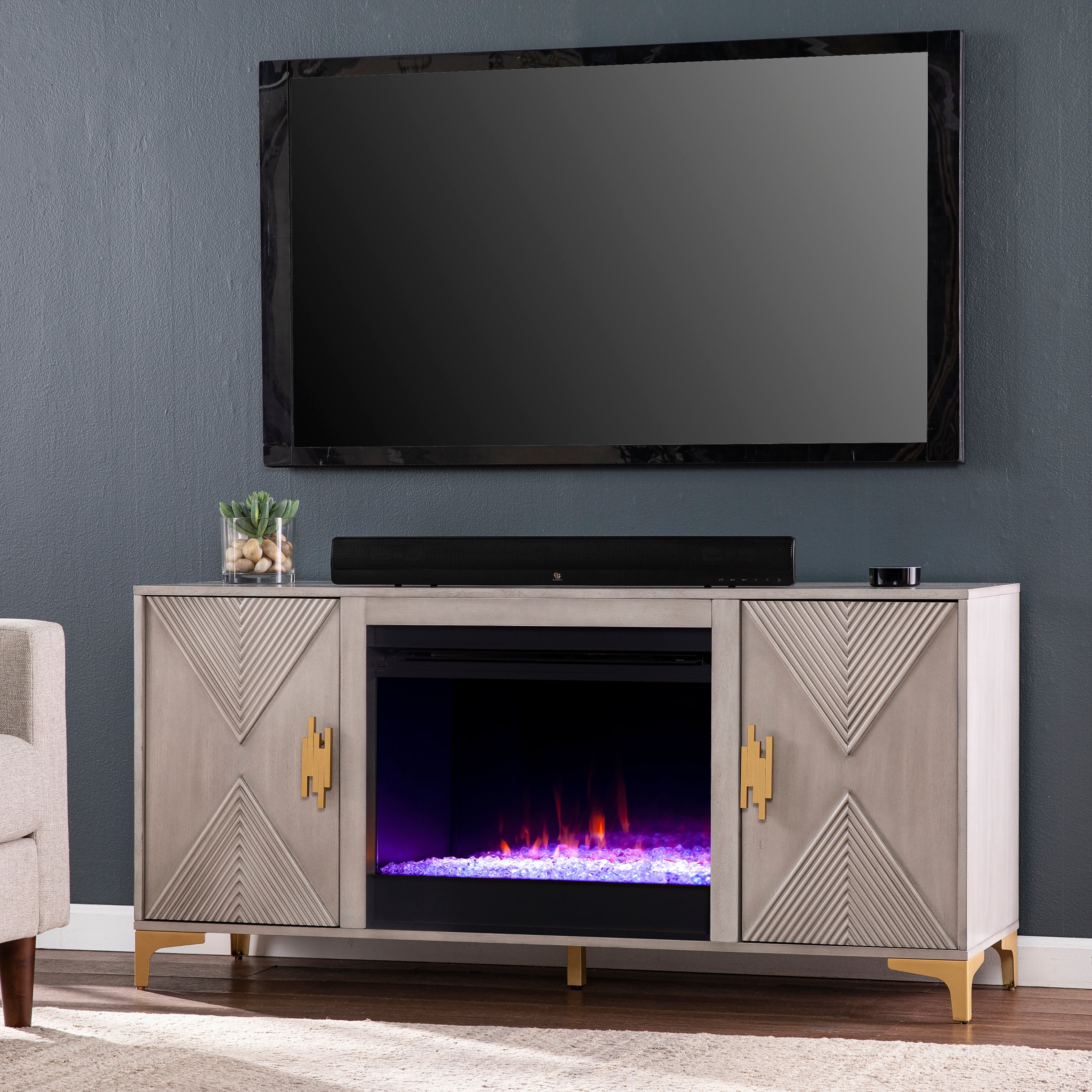 Strick & Bolton Lillyvale Gray Wood Color Changing Fireplace